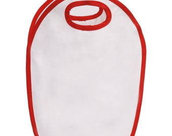 Key Hole Bag in Solid White Oilcloth With Red Trim