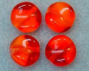 Vintage GIVRE Glass Beads Bright ORANGE RED 8mm pkg4 gl784