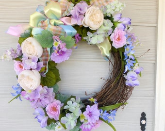 Pastel Rose Wedding Wreath - Spring Wreath - Summer wreath - Front door decor - Wreaths - Easter Wreaths - Wedding decorations