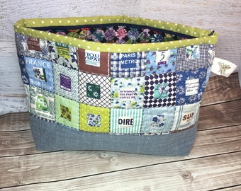 Hand Quilted Patchwork Zippered Bag, Makeup Bag, Toiletry Bag, Art Supplies, Sewing Notions