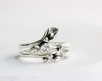 Leaf Ring, Engagement Rings, Set of 2 Rings, Small Leaf Silver Rings with 2 White Topaz