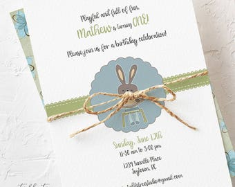 Birthday Party Invitations - Bunny Invitation, Playful and Full of Fun! Boy's Birthday (Style 13026)