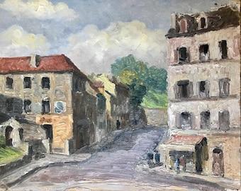 Street scene near Paris (antique oil painting)