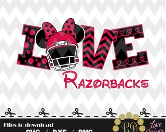 Love razorbacks svg,png,dxf,cricut,silhouette,college,jersey,shirt,proud,cut,university,football,hornets,arkanzas,hoogs,minnie,disney,mickey