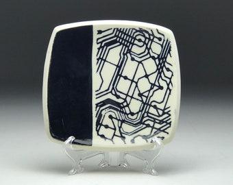 Ceramic square plate, Circuit board, handmade dish, black and white, artist made, key bowl, trinket dish, gift for nerd geek, him guy gift