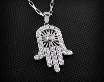Hand Of God Necklace / Hamsa Gold Necklace / Hamsa Necklace Gold / Diamond Hamsa necklace/Diamond Hand of God/Hamsa Jewlery / Star of David