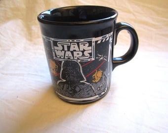 Vintage 1997 Star Wars Coffee Mug Tams Made in England Darth Vader Death Star Battle