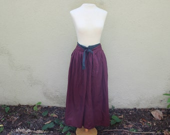 80's Tie Waist Red and Green Gingham Maxi Skirt // High Waisted Layered Plaid Skirt - S