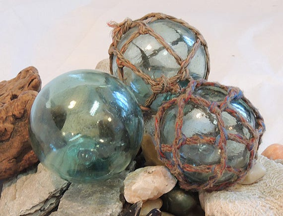3 Unique Vintage Japanese GLASS FISHING FLOATS.. 2 With Original Nets, 1 With Makers Marks (#17)