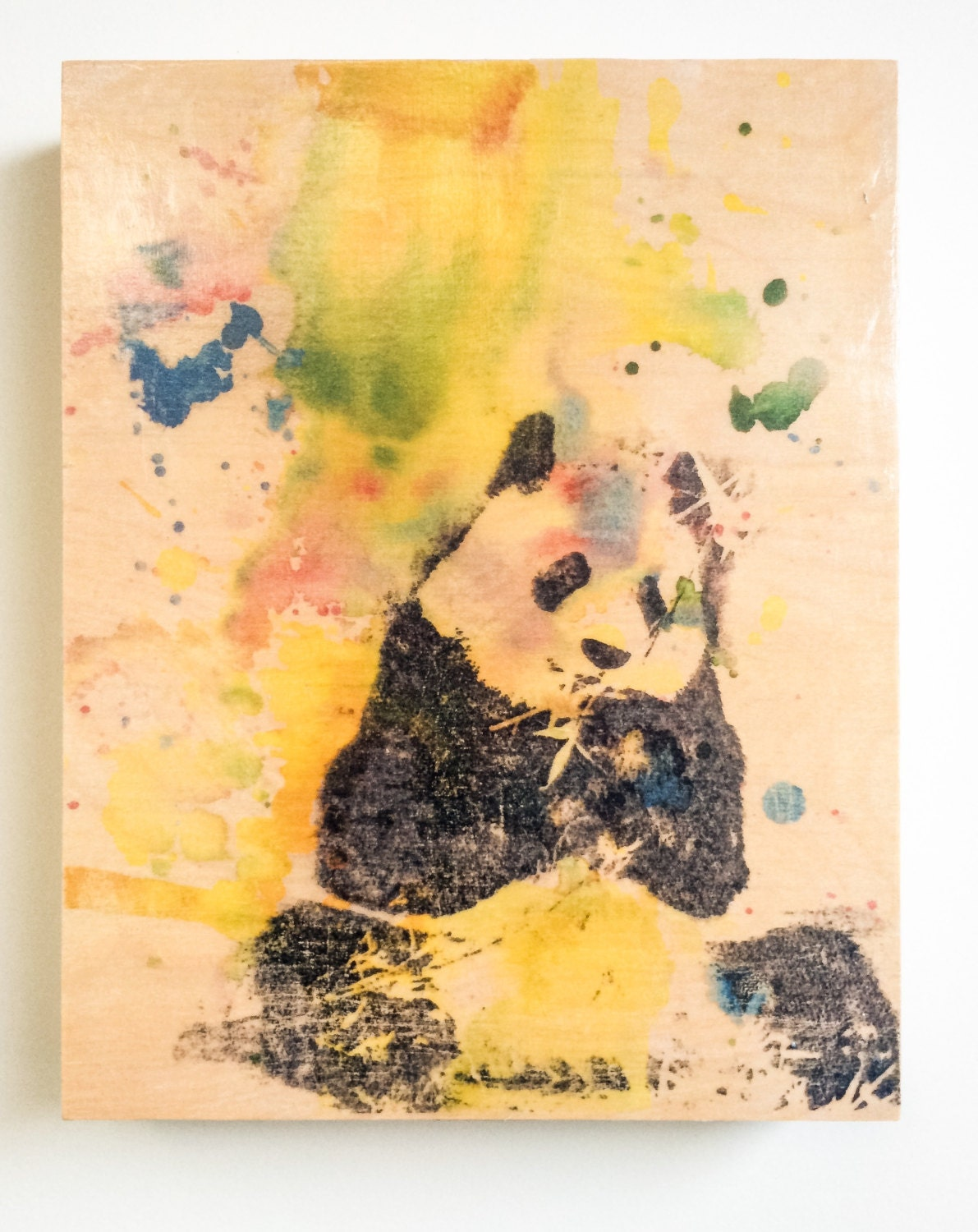 Panel Panda Bear Animal Art on Wood Animal Nursery Art Panda