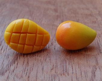 mango earrings, small mango, small earrings, beautiful earrings, polymer clay, tangerine earrings, fruit earrings, miniature food