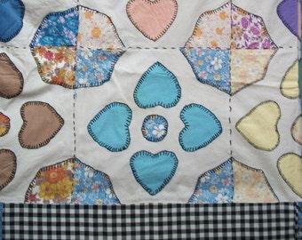 Vintage Valentine Hearts feedsack quilt top