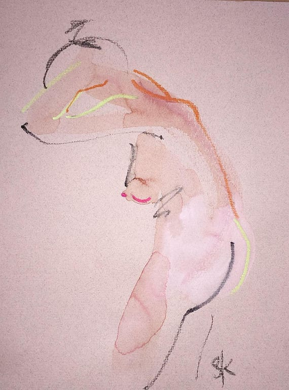 Nude painting of One minute pose 107.6 Original painting by Gretchen Kelly
