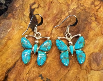 Native American Style Jewelry Sterling Silver Genuine Turquoise Butterfly Dangle Earrings