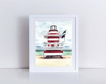 Miami Beach Art South Beach Lifeguard Station Vintage Miami Beach Painting Stripes Print Jetty Painting Florida Art Deco Painting Ocean Art