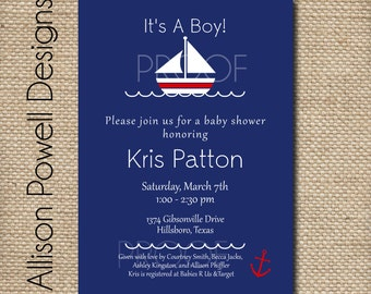 Ahoy It's A Boy - Nautical Baby Shower or Sprinkle Invitation - Print Your Own or Printed