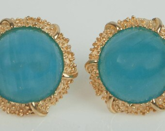 1960s Crown Trifari Light Blue Turquoise Lucite Mooonstone Button Style Gold Tone Mid Century Vintage Clip On Earrings