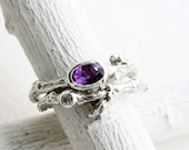 Amethyst,White Sapphire,Engagement Rings, Silver Twig Rings, Oval 6x4mm Amethyst Brnach Ring