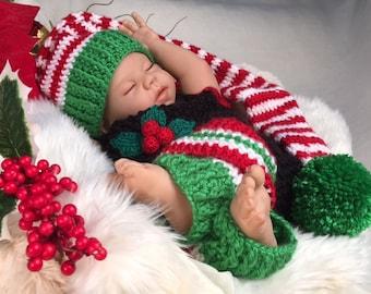 Elf Christmas costume for newborn - hand knit 3 pc set photo prop costume baby shower leg warmers  sc 1 st  Etsy & Baby elf costume | Etsy