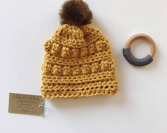 Slouchy Beanie for Baby // Sungold // Size 6-12 Months // Ready to Ship