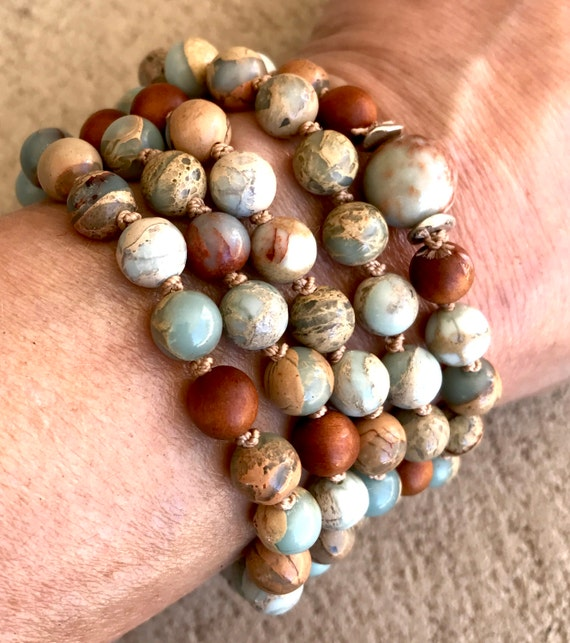 African Opal Wrist Mala Beads 108 Mala Necklace Fragrant Sandalwood Grounding Mala Bracelet Stress Relief Natural Stone Unisex Yoga Jewelry