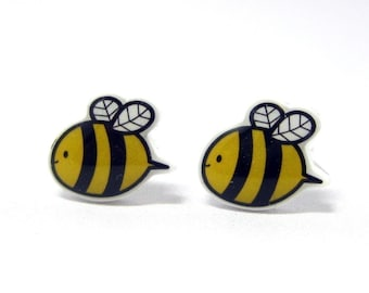 Bumble Bee Earrings | Sterling Silver Posts Studs | Gifts For Her