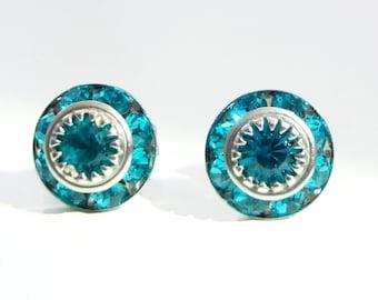 Teal crystal stud earrings  - teal earrings - crystal earrings - Swarovski crsystal - teal blue - blue zircon