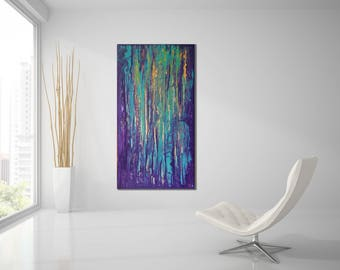 ABSTRACT PAINTING Custom Unstretched Large Canvas Art Original Painting Acrylic Abstract Modern Painting Green abstract Purple Painting