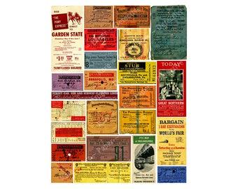 Railroad Ticket Stubs, 24 Reproduction Tickets, Train Travel, Travel Theme Journal Tags, Railroad Memorabilia, Railway, PRINTED SHEET, 110a
