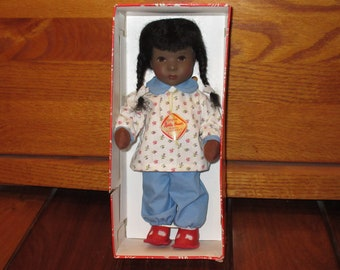 "1980s Kathe Kruse Puppen Black 10"" Doll - Hanne Kruse Model, Made in Germany"