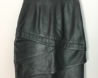 Lillie Rubin Genuine Leather Pencil Skirt Tiered Layered Knee-Length Black Size S