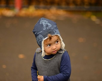 Aviator Winter hat in organic cotton jean jersey lined with organic unbleached cotton plush. Digital Rhinos!