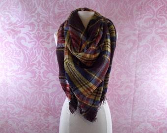 brown oversized blanket scarf/blanket scarf/tartan scarf