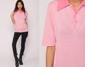 Polo Shirt 80s Striped Shirt Half Button Up Shirt Retro Tshirt Collared Pink 1980s Nerd Geek Vintage Short Sleeve Medium