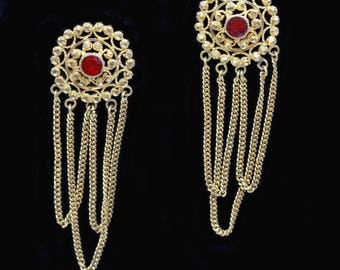 Antique Gold Earrings Twisted Gold Wire Granulation Dangle Chains Enamel (#6442)