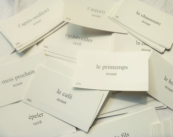 35 French Vocabulary cards, Vintage vocabulary cards, French cards