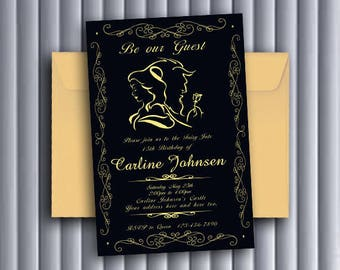 Beauty and the Beast Invitations/Beauty and the Beast Birthday Invitations/Beauty and the Beast Birthday/Beauty and the Beast
