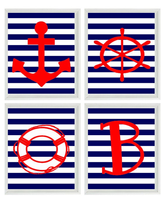Beach Nautical Nursery Initial Art Print Set Red Navy Blue  sc 1 st  Best inspiration home design & Terrific Navy Blue Striped Wall Gallery - Best inspiration home ...