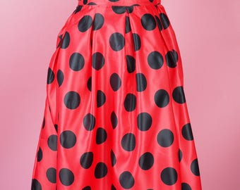 Hidden Mickey Inspired Red and Black Polka Dot Swing Skirt