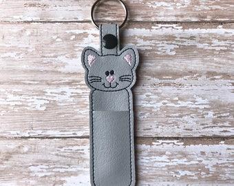 Lip Balm Holder, Cat Lip Balm Keychain, Cat Lip Balm Cozy, Gray Cat Chapstick Holder