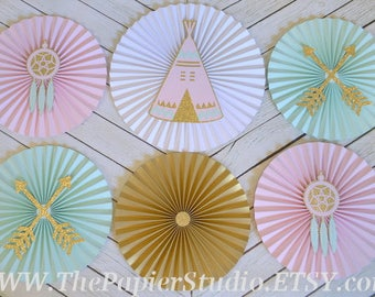 Boho Party, Wild One, Tribal Party, Pink and Aqua, Set of 6 Paper Rosettes