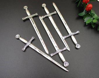 5Pcs 25x85mm Silver Sword Charms Excalibur - p1151