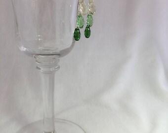 Dewdrop Dangle Earrings (Dewdrop/Teardrop Swarovski Crystals in Green/Clear Ombre/Gradient)