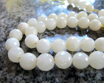 8mm JADE Beads in Dark Cream - Off White, Faceted Stone, Round, Full Strand, 46 Pcs, Gemstones, Candy Jade, Opaque