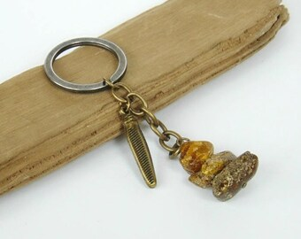 Amber keychain, raw amber, genuine amber, baltic amber, amber key chain, gemstone keychain, amber, keychain, accessories, keyring, key chain