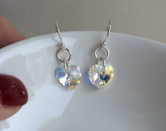 Tiny AB Swarovski crystal heart earrings on Sterling Silver hooks, studs or lever backs