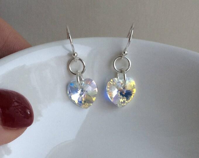 Tiny AB Swarovski crystal heart earrings on Sterling Silver hooks, studs or lever backs