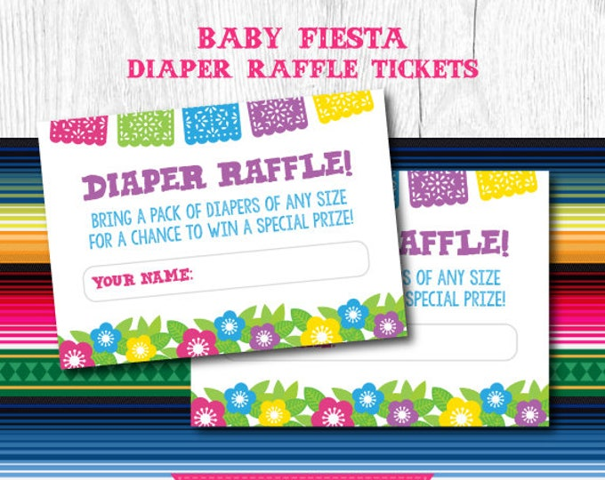 Fiesta Diaper Raffle Ticket, Diaper Raffle ticket printable, Diaper Raffle Cards, Diaper Raffle Sign, Instant Download