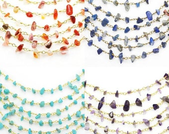 Rosary Chains Various colours Semi-precious Gemstone Chips Beaded Gold Plated Jewellery Making