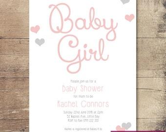 Printable Love Hearts Baby Shower Invitation / Customisable Digital File / JPG or PDF / Pink, Silver / Baby Girl